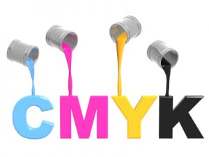 Conceptual image - a palette CMYK. Objects over white